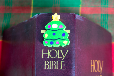 A small Christmas tree object over the Holy Bible.  Christian origins of the Christmas holiday Banco de Imagens
