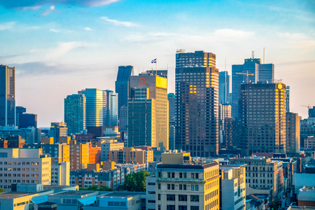 City skyline. The famous Canadian city is a major tourist destination featuring old French styled architecture and churches.
