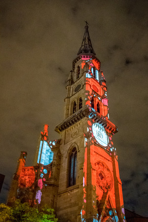 Eglise (Church) Saint Jacques with light projections at night