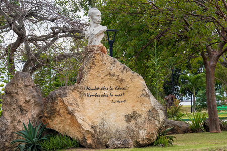 Jose Marti monument found in Varadero city. He is recognized as a Cuban National Hero and an important figure in Latin American literature. 報道画像