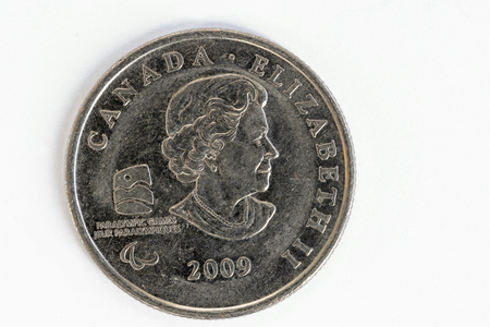 Canadian quarter coin commemorating the Vancouver Winter Olympic games of 2010. The front shows Queen Elizabeth II