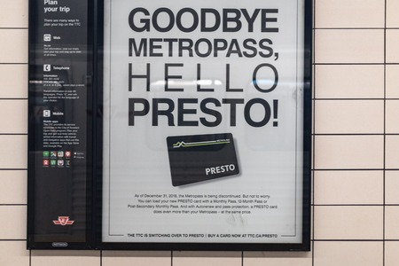 Sign announcing the final month for the Metropass cards. From January 2019 the public transport fares will be handled by the new Presto system