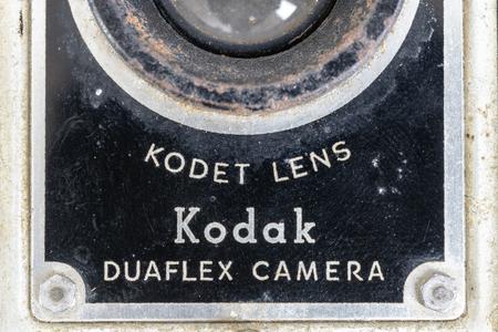 Vintage Kodak duaflex camera. Close up detail of the front. A part of an antique item