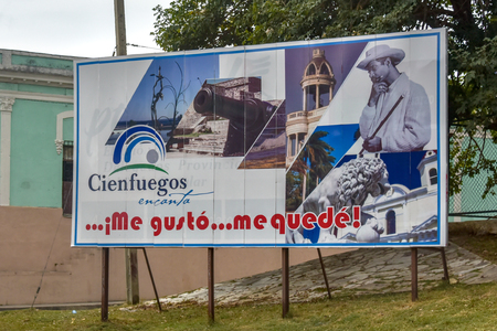 Cienfuegos, Cuba-January 24, 2019:   Tourism themed billboard with the image of Benny More and reading: I liked it...I stayed referring to the city of Cienfuegos.
