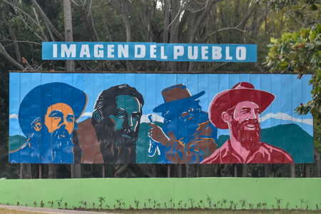 Billboard declaring 'Camilo Cienfuegos' as the 'Image of the People'. He was a Rebel Army Commander during the Cuban Revolution Stock Photo - 118750857