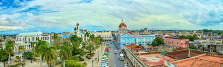 Panoramic aerial view of the downtown district. The area is named the Jose Marti Park and it is aand a major tourist attraction