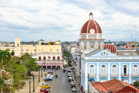 Medium shot aerial view of the downtown district. The area is named the Jose Marti Park and a major tourist attraction