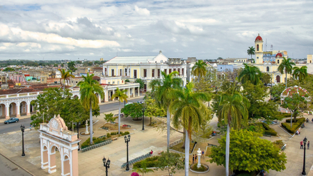 Parque Jose Marti aerial view. major tourist attraction in the South Central city of the Caribbean island Stock Photo