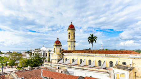 Our Lady of the Immaculate Conception Catholic Cathedral.  The colonial building is located in the Jose Marti Park High angle view from the Hotel La Union