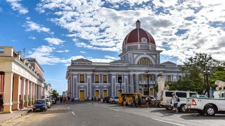 Provincial Government Building seat of the Popular Power Assembly. The old building is located in the Jose Marti Park which is a  Unesco World Heritage Site Stock Photo - 118529349