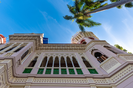 Valle Palace (Palacio de Valle in Spanish) beautiful external architecture. Wide angle of the external walls. The famous place and tourist attraction is a Cuban National Monument. The Moorish architecture landmark building is the work of Italian architect