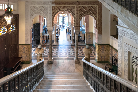 Palacio de Valle (Valle Palace in English) luxurious interior details of the Moorish architecture. View from the marble stairs looking to the dining room or restaurant. The famous place and tourist attraction is a Cuban National Monument