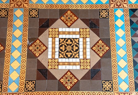 Palacio de Valle (Valle Palace in English) luxurious interior details of the Moorish architecture. Beautiful tiles in the floor. The famous place and tourist attraction is a Cuban National Monument