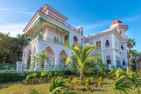 Valle Palace (Palacio de Valle in Spanish) beautiful external architecture.  Wide angle of the whole building. The famous place and tourist attraction is a Cuban National Monument. The Moorish architecture landmark building is the work of Italian architec Stock Photo - 118529364