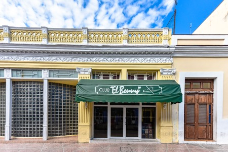 Entrance to the 'Club El Benny' in the city promenade or boulevard. The nocturnal center is a famous place and tourist attraction. It offers discotheque services. Stock Photo - 118529403