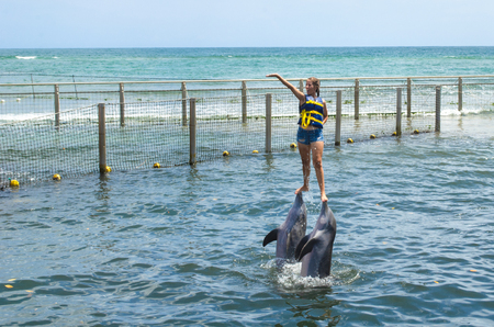Cienfuegos, Cuba, the city dolphinarium.  The famous place reopened its doors in the Summer of 2018 after a capital revitalization. It is located in the Rancho Luna beach