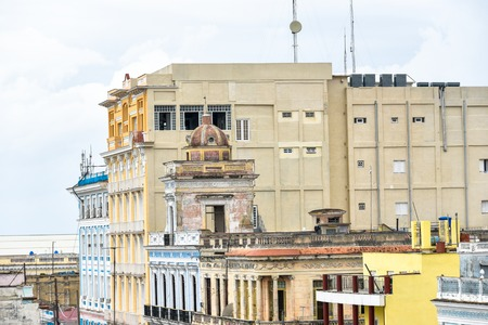 Cienfuegos, Cuba, old buildings skyline of the city seen from a vantage point in El Prado which is a tourist attraction Editorial