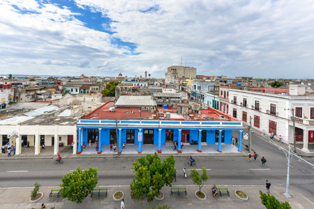 Cienfuegos, Cuba, aerial view of El Prado promenade which is a famous place and tourist attraction in the Southern city of the Caribbean island