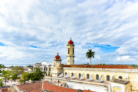 Cienfuegos, Cuba, Cathedral of the Immaculate Conception. Aerial view. The wide angle offers a beautiful textured sky with clouds