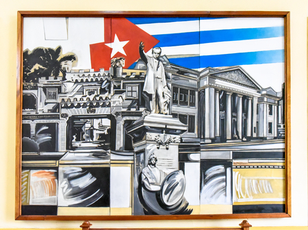 Cienfuegos, Cuba, painting of Jose Marti and a Cuban flag hanging in the Government Palace as decoration Editorial