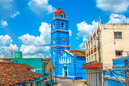 Sancti Spiritus, Cuba-January 6, 2019: The Holy Spirit Major Parish Cathedral (Spanish:  Iglesia Parroquial Mayor del EspÃŒritu Santo). The place of worship is a famous tourist attraction in the city Editorial