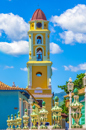 Tourism in Trinidad, Cuba: Iglesia y Convento de San Francisco which currently houses the museum of the Fight against Bandits who fought against Fidel Castros government.  Trinidad visited by thousands of tourists every year.