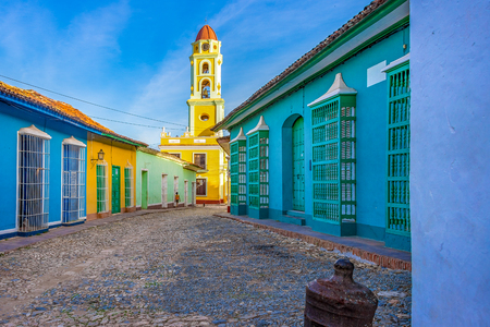 Trinidad de Cuba, main plaza including the Convent of Saint Francis de Assisi currently the Museum of the Fight Against Bandits. Trinidad is major tourist landmark in the Caribbean Island