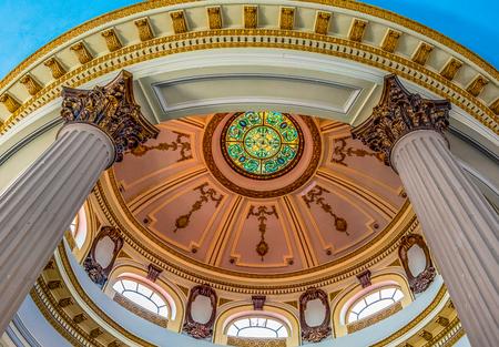 Sancti Spiritus, Cuba-January 30, 2019: Interior architecture at Ruben Martinez Villena public library. The colonial building is a major tourist attraction in the city