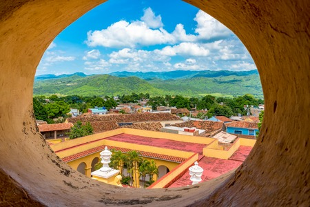 Cuba tourism: Trinidad views from the Convent of Saint Assisi tower or Church in Main Plaza which currently houses the Museum of Fight Against Bandits.  Trinidad visited by thousands of tourists every year Editorial