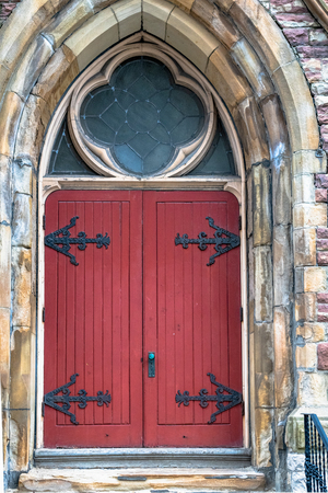 Old wooden door in the first Saint Andrews Church that there was in Toronto city. The building was designed by Langley and Burke. It was built with stones from the Credit Valley and opened in 1878 Editorial