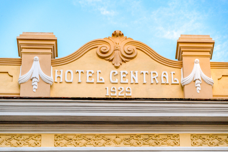Hotel Central front sign. The vintage colonial building is being revitalized for a luxurious new Encanto brand hotel of Cubanacan S.A.