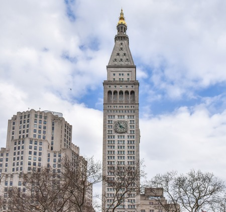 New York city, USA, old clock tower building in the North American city.