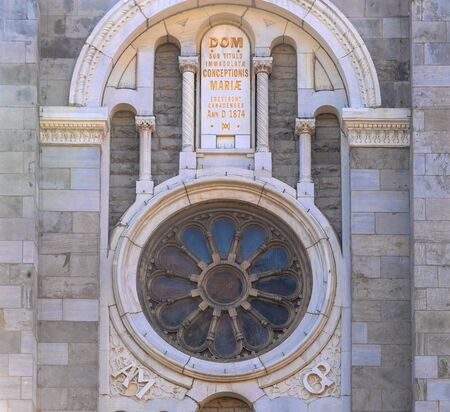 Montreal, Quebec, Canada-May 29, 2019: The Church of the Immaculate Conception  (Virgin Mary) in the Saint Catherine Street. Architectural detail. The famous place is a tourist attraction
