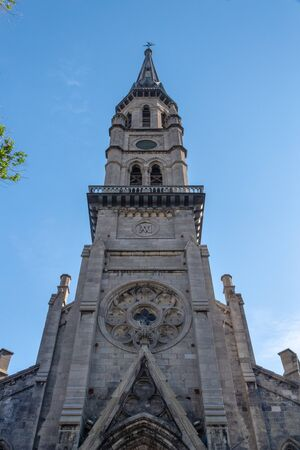 Montreal, Quebec, Canada-June 11, 2017: Church of Saint Jacques bell tower during the daytime. The old colonial architecture temple is a tourist attraction in the Canadian city
