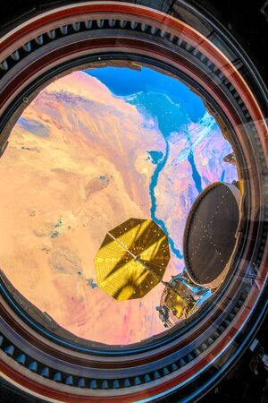 Over Egypt. The beauty in nature of our planet Earth seen from the International Space Station Stock Photo
