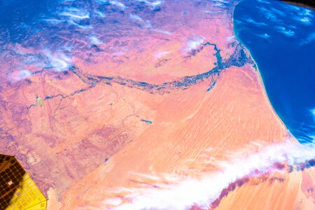 Over Mauritania. The beauty in nature of our planet Earth seen from the International Space Station Stock Photo