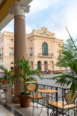 Charity Hotel or Teatro La Caridad framed in the patio located in the Hotel Central. The whole place is a Cuban National Monument and a tourist attraction.