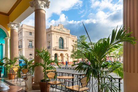 The Charity Theater or Teatro La Caridad seen from the porch of the Hotel Central.  The downtown area is a famous place and a National Monument. Stock Photo