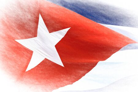 Cuban national flag close up. The patriotic symbol is waving in the wind. A chalk painting style has been applied to the color image 写真素材