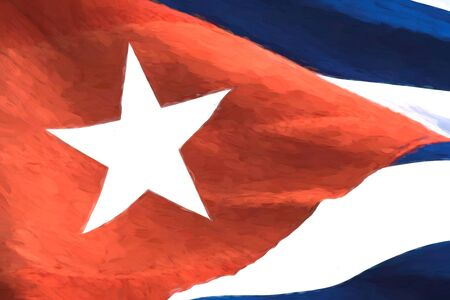 Cuban national flag close up. The patriotic symbol is waving in the wind. The Monet painting style has been applied to the color image 写真素材