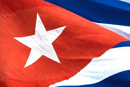 Cuban national flag close up. The patriotic symbol is waving in the wind. The painting style of Van Gogh is applied to the color image