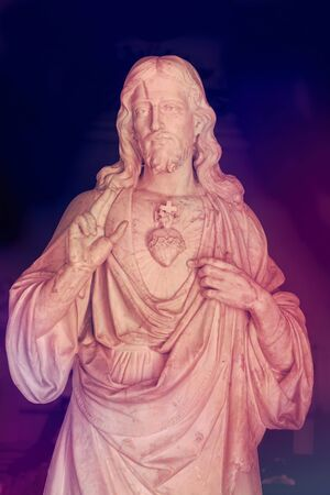 The Sacred Heart of Jesus. Color filters and enhancements applied.  The Christian religious symbol is located in the colonial Catholic church in Sagua La Grande, Cuba Stock fotó
