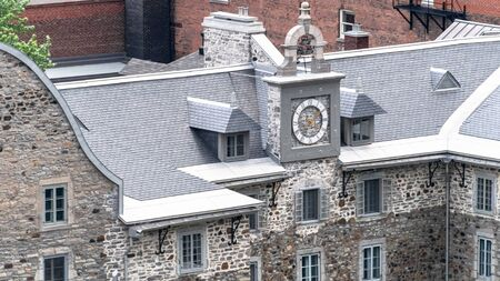 Montreal, Canada-July 9, 2019: Aerial view of the The Old Sulpician Seminary which is the oldest building in the city and a tourist attraction Editoriali