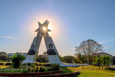 Pinar del Rio, Cuba-February 9, 2020: Monument to the Sainz Brothers which is a famous place and a tourist attraction in the Cuban city