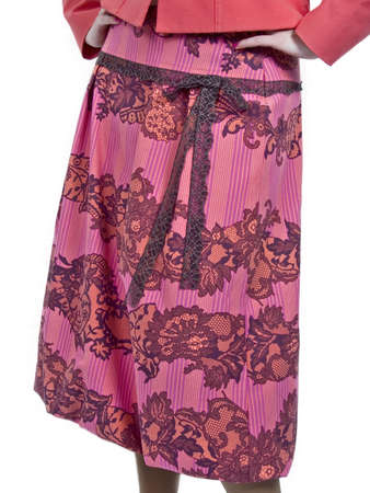 the pink colored skirt with flowers on white photo