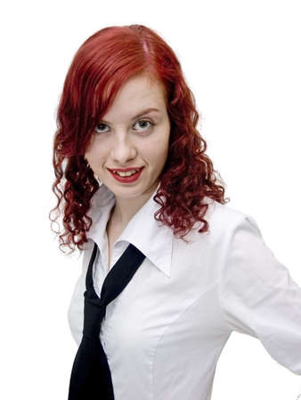 young businesswoman with black cravat on a white photo