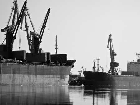 loading in the trade port in black and white Stock Photo - 9713940