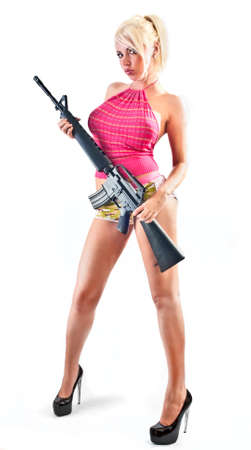firearm: sexy blonde with long legs and rifle