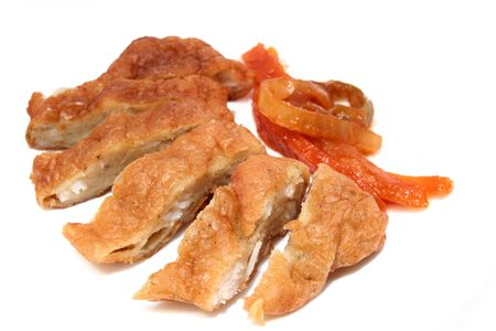 fried meat with sliced carrot photo