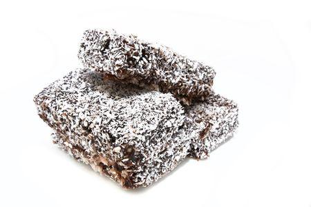 lamington: homemade lamington coconut cake 1 Stock Photo